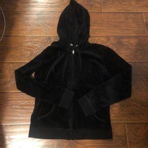 Black Velour Velvet Zip Up Jacket